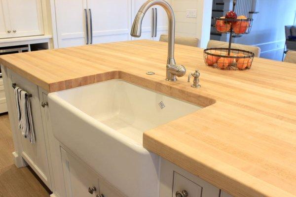Distressed Walnut Kitchen Counter Farmhouse Sink